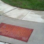 corner walkway rust area after power wash